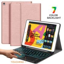 iPad 10.2 7th Generation Backlit-Keyboard Case 2019 - JUQITECH Smart Case with Touchpad Wireless Keyboard for iPad 7th Gen Magnetic Detachable Rechargeable Keyboard Cover with Pencil Holder, Rose Gold