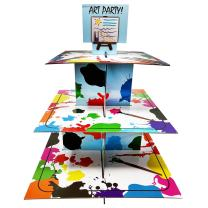 Art Party Cupcake Stand & Pick Kit, Art Party Supplies, Decorations, Birthdays, Cake Decorations, 3 Tier Cardboard