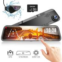 """WOLFBOX Mirror Dash Cam Backup Camera,12"""" IPS Full Touch Screen,1296P HD Dual Lens Smart Rear View Mirror for Cars & Trucks, Sony IMX335 HDR Stream Media with Night Vision & LDWS, Free 32GB TF Card"""