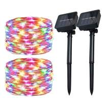 Solar Christmas String Lights Multicolor Outdoor Waterproof 72ft 100 LED(2 Pack) 8 Modes Copper String Lights Fairy Lights for Garden, Patio, Fence, Balcony, Outdoors(Multicolor 2pcs)