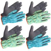 SEUROINT Garden Gloves, Work Gloves with PVC Dots, Light-duty Breathable Cozy Gardening Gloves for Unix, 4 Pairs, Blue & Green, Extra Large Size