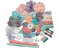 Princess & The Peach : DIY Elegant Baby Shower Headband Making Kit | Newborn Infant Toddler Tween Hair Accessories | Peach, Mint Green, Ivory, Gray (Medium (34 Hair Accessories))