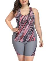 Daci Women Plus Size Unitard Swimsuit Athletic Two Piece Tankini Racerback Top with High Waisted Shorts