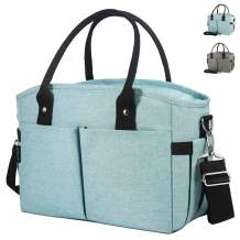 Lunch Box Large Lunch Bag, Thermal Cooling Tote Insulated Lunch Bags with Shoulder Strap for Women Men Adults Kids College Work Picnic Hiking Beach Fishing (Cyan)