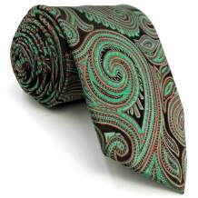 SHLAX&WING Ties for Men Unique Red Green Paisley Mens Necktie Silk Wedding