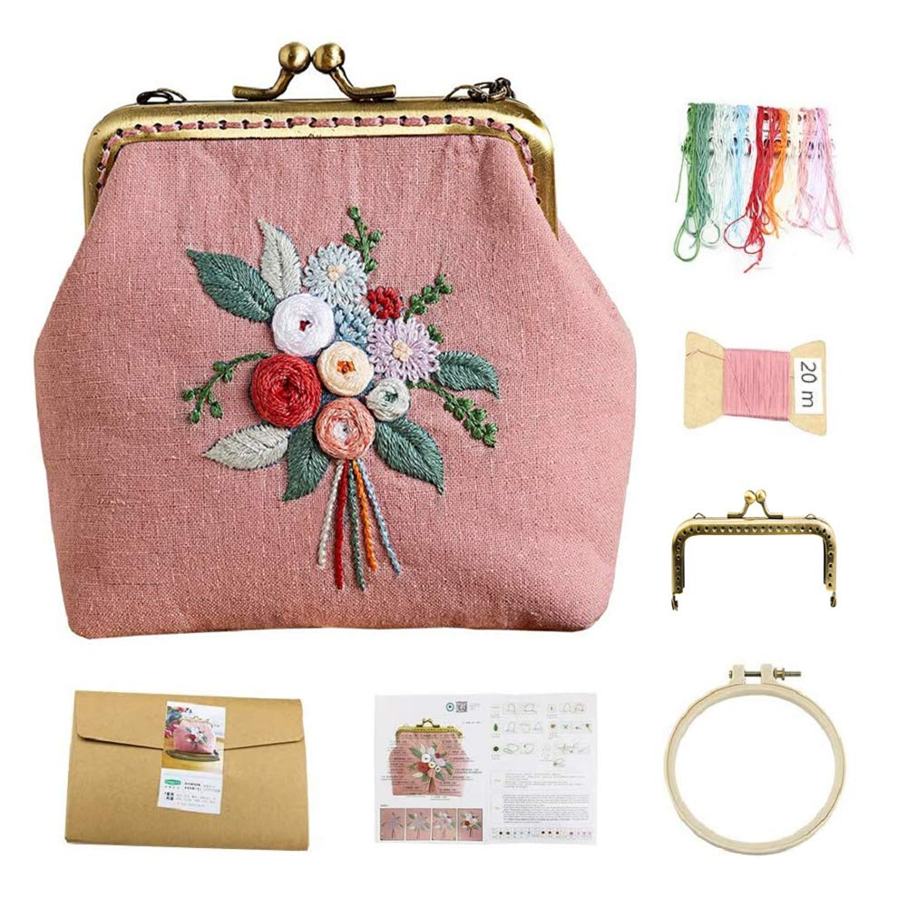 Embroidery Coin Purse,Embroidery Starter Kit for Beginners,Handmade DIY Kiss Lock Coin Purse for Women Embroidery Supplies(Pink Flower)