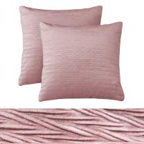 """PHF Velvet Solid Throw Pillow Cover for Winter Square Pack of 2 Home Decor 18""""x18"""" Cushion Case Light Pink/Dark Mauve"""