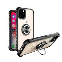 mgACC Clear Crystal Case for iPhone 11 Pro Max, PC Hard Back Cover Case with 360 Degree Rotation Ring Kickstand[Work with Magnetic Car Mount] for iPhone 11 Pro Max 6.5 inch 2019/Black