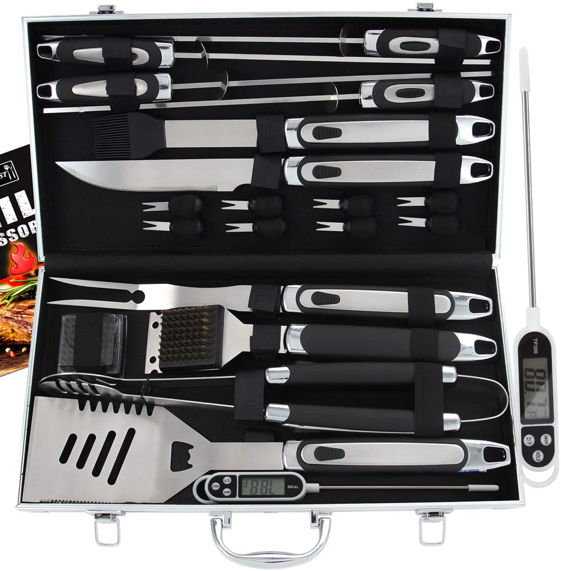 ROMANTICIST 21pc BBQ Grill Accessories Set with Thermometer - The Very Best Grill Gift on Birthday Wedding - Heavy Duty Stainless Steel Grill Utensils with Non-Slip Handle in Aluminum Case