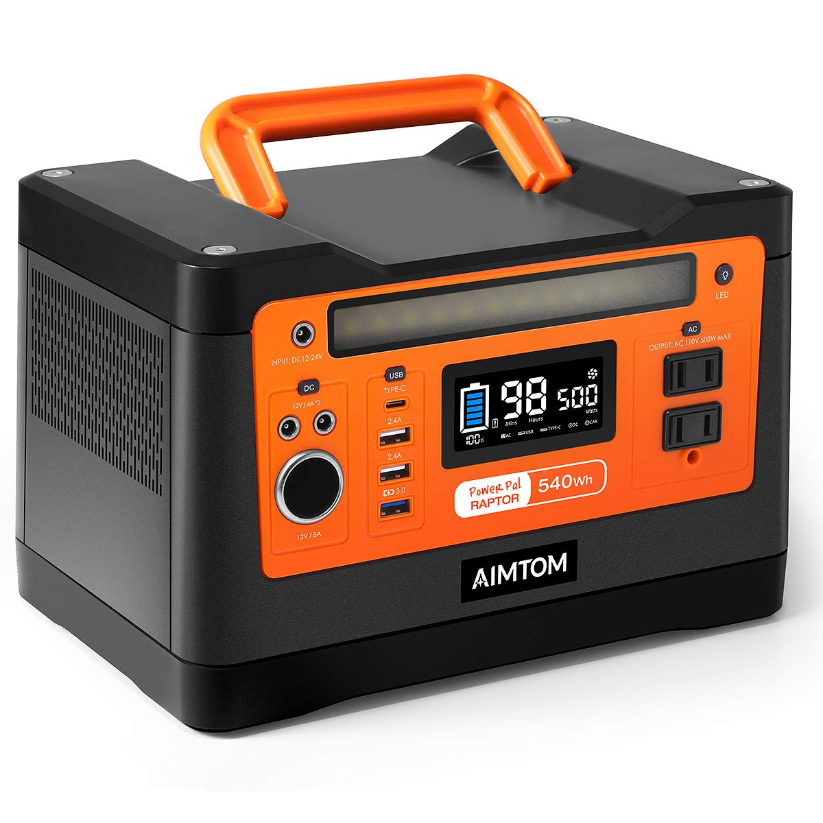 AIMTOM 540Wh Portable Power Station, Lithium Battery Pack with 110V/500W AC, 12V DC, USB, Carport, USB-C, Solar-Ready Generator Alternative (Solar Panel Optional) for Outdoor RV Camping Emergency