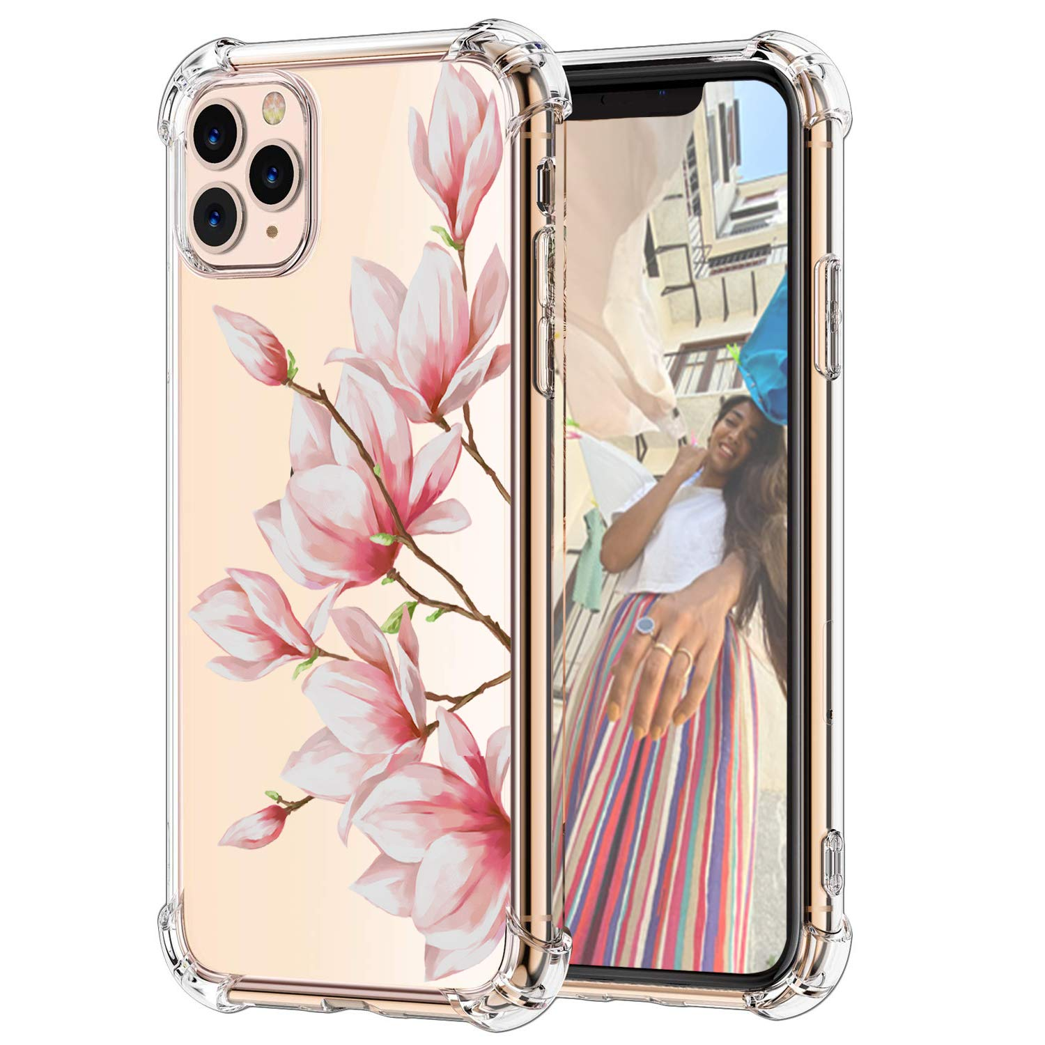 """Hepix Magnolia Floral iPhone 11 Pro Cases, Pink Flowers Design Clear iPhone Pro Cases, Slim Flexible TPU with 4 Protective Bumpers Shockproof Transparent iPhone Cover for iPhone 11 Pro 2019 (5.8"""")"""