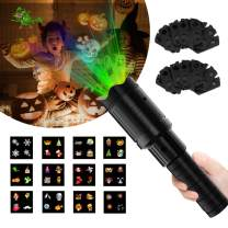 Zenic LED Handheld Halloween Decoration Projector Lights, 6W 12 Slides Landscape Holiday Projection Flashlight for Christmas, Easter, Carnival, Halloween and Birthday Party