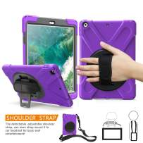 TSQ iPad 9.7 Case with Screen Protector, Full Body High Impact Resistant Hard Rugged Protection Defender Case with Hand Strap/Shoulder Strap/Stand for iPad 9.7 Inch 6th/5th Generation Tablet,Purple