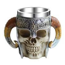 Otartu 13oz Double Handle Viking Horn Skull Mugs Coffee Cups Beer Tankard Stainless Steel Liner Medieval Skull Drinkware Mug for Coffee/Beverage/Juice