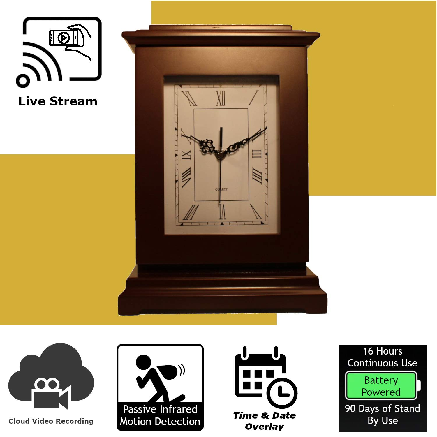 Discover IT   Wi-Fi Hidden Camera Spy Cam Home Surveillance Nanny Cam Rectangle Clock with Cloud Video Recording, Battery Operated