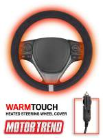 Motor Trend SW2311 Gray WarmTouch 12v Heated Steering Wheel Cover – DC Powered Hand Warmer with Automated Thermostat, Universal Fit for Car Truck Van and SUV