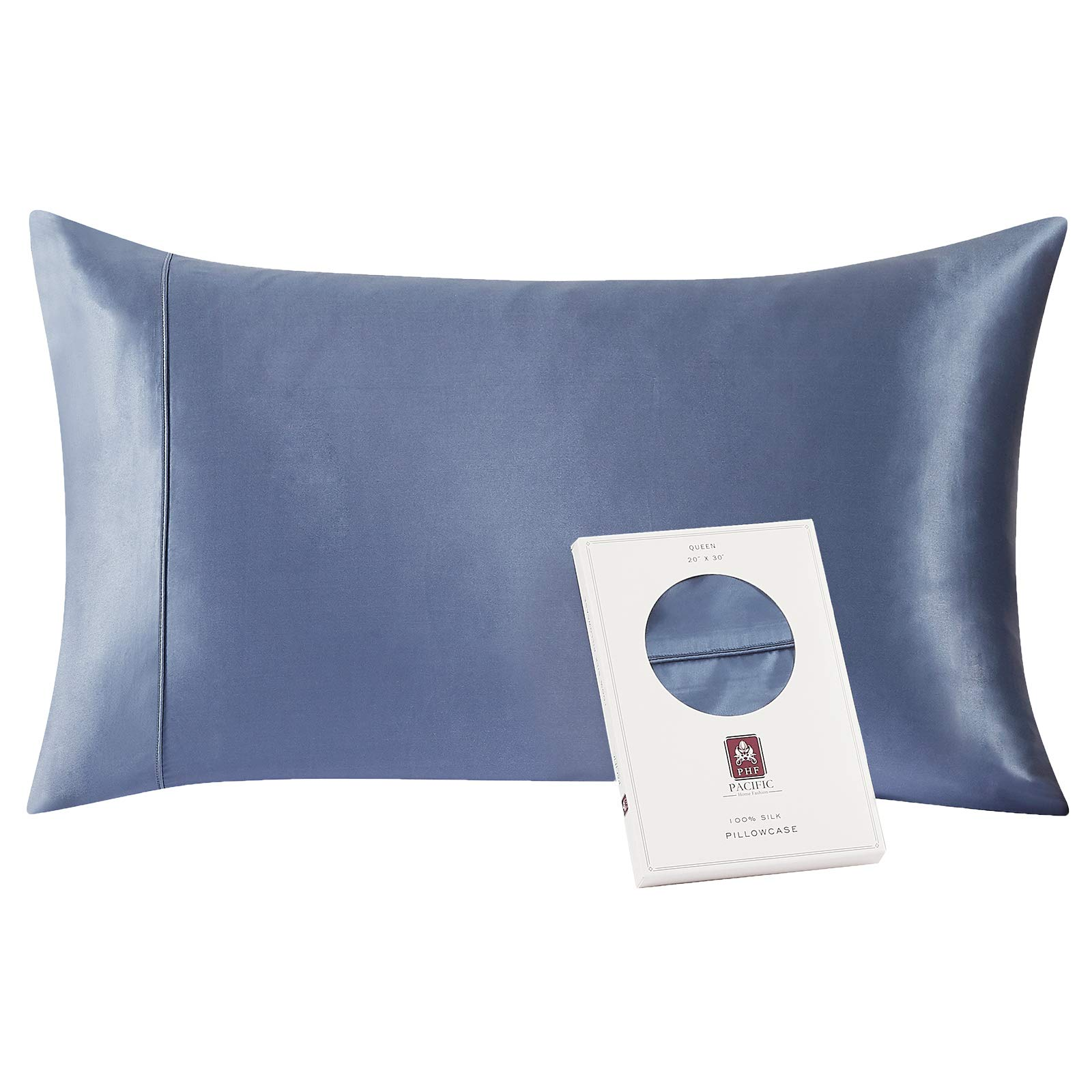 PHF 100% Pure Mulberry Silk Pillowcase, 1 Pack, Queen Size (20x30 inches) for Skin & Hair, Both Sides Soft Breathable Silk Pillow Case with Envelope Closure, Blue
