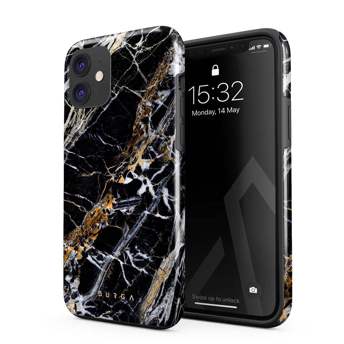 BURGA Phone Case Compatible with iPhone 11 - Black and Gold Onyx Marble Golden Stone Cute Case for Women Heavy Duty Shockproof Dual Layer Hard Shell + Silicone Protective Cover