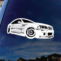 "SoCoolDesign German Automotive Car Silhouette Car Window Vinyl Decal 5"" Wide (White)"