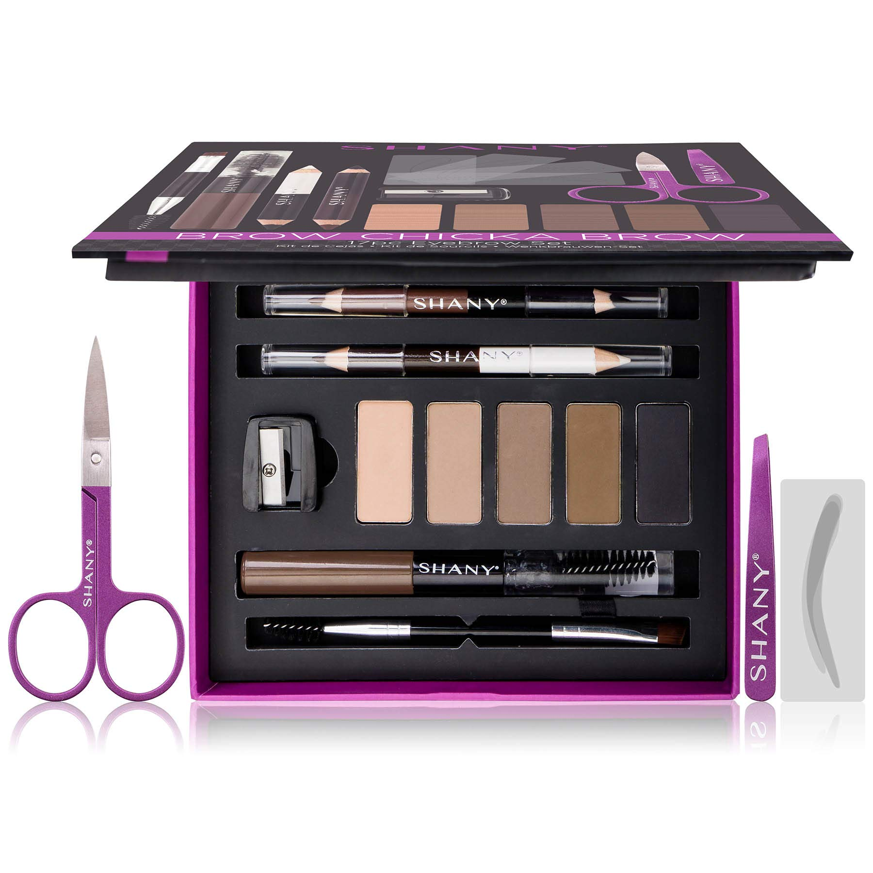 SHANY Brow Chicka Brow Eyebrow Set - 17 Piece Eyebrow Makeup Kit with Brow Powder, Brow Gel, Dual Ended Pencils, Stencils, Scissors, and Tweezers - All Hair Colors