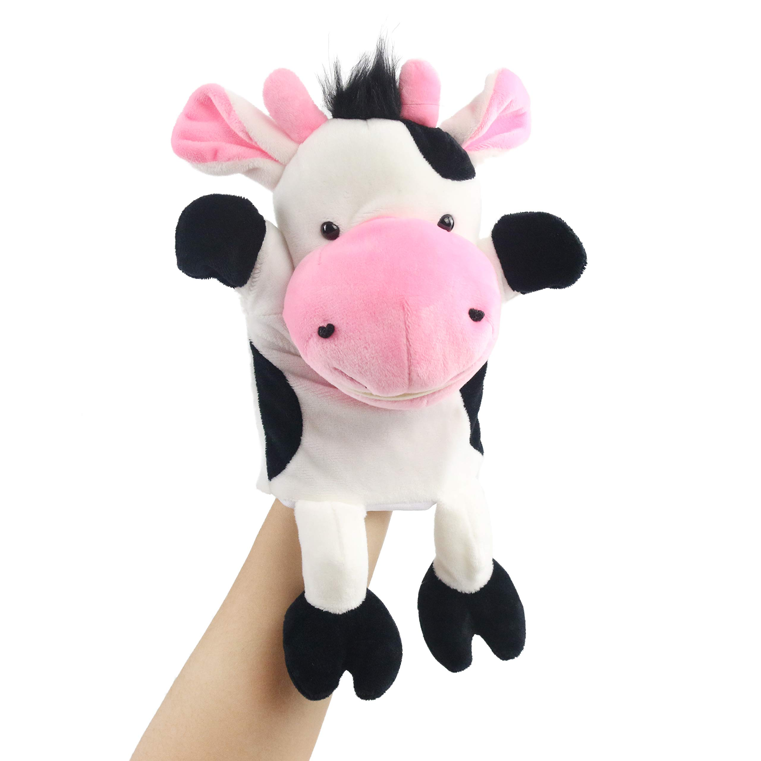 Houwsbaby Plush Cow Hand Puppet with Open Movable Workable Mouth for Imaginative Play, Role Play, Animal Toy for Storytelling Teaching Puppet Theater, Gift for Kids Boys Girls, White, 14''