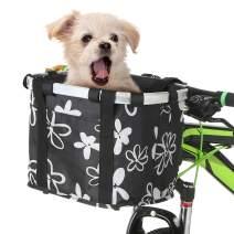 Lixada Bike Basket Waterproof Small Pet Cat Dog Carrier Bicycle Handlebar Front Basket Quick Release Easy Install Detachable Folding Picnic Shopping Bag Cycling Front Bag Handbag