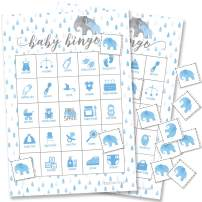 Blue Elephant Baby Shower Bingo Game - 24 Guests