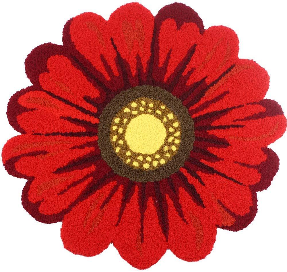 Red Handmade Weaving Sunflower Rug - Girls Bedroom Mat Non-Slip Soft Bathroom Mat Home Decor Floor Rugs 2'x2'