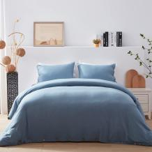 NexHome Duvet Cover Sets Twin Size Blue Grey Double Brushed Microfiber Button Closure & Corner Ties-Breathable and Soft-2pcs