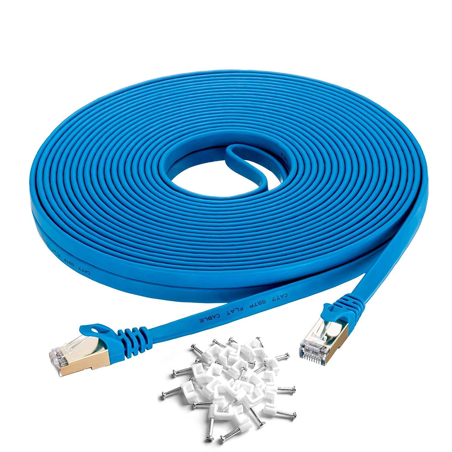 Cat 7 Ethernet Cable 15 ft Blue, SNANSHI Cat7 Flat Ethernet Patch Cables - Internet Cable with Clips & Shielded RJ45 Connectors Compatible with Switch/Router/Modem/Patch Panel