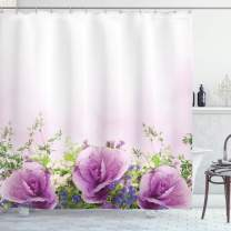 """Ambesonne Flower Shower Curtain, Spring Cabbage Flowers in Fragrant Bouquet with Partially Shaded Color Romance, Cloth Fabric Bathroom Decor Set with Hooks, 84"""" Long Extra, Lavender Green"""