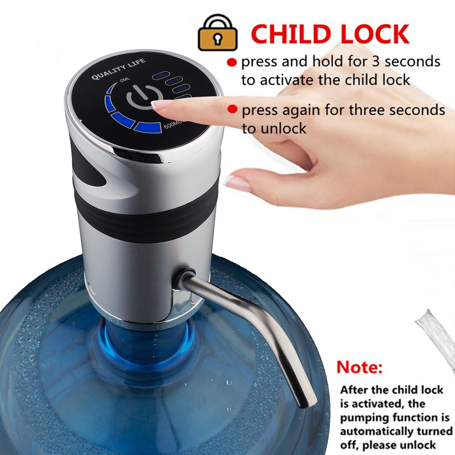 5 gallon Bottle Water Pump, USB Charging Portable Electric Drinking Water Bottle Pump Dispenser for Home Kitchen Office