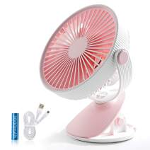 SmartDevil Battery Operated Clip on Fan for Stroller Home Office Camping Outdoors,Dual-use Portable 3-Speed Desktop Clip Fan, Rechargeable, Quiet Operation (Pink)