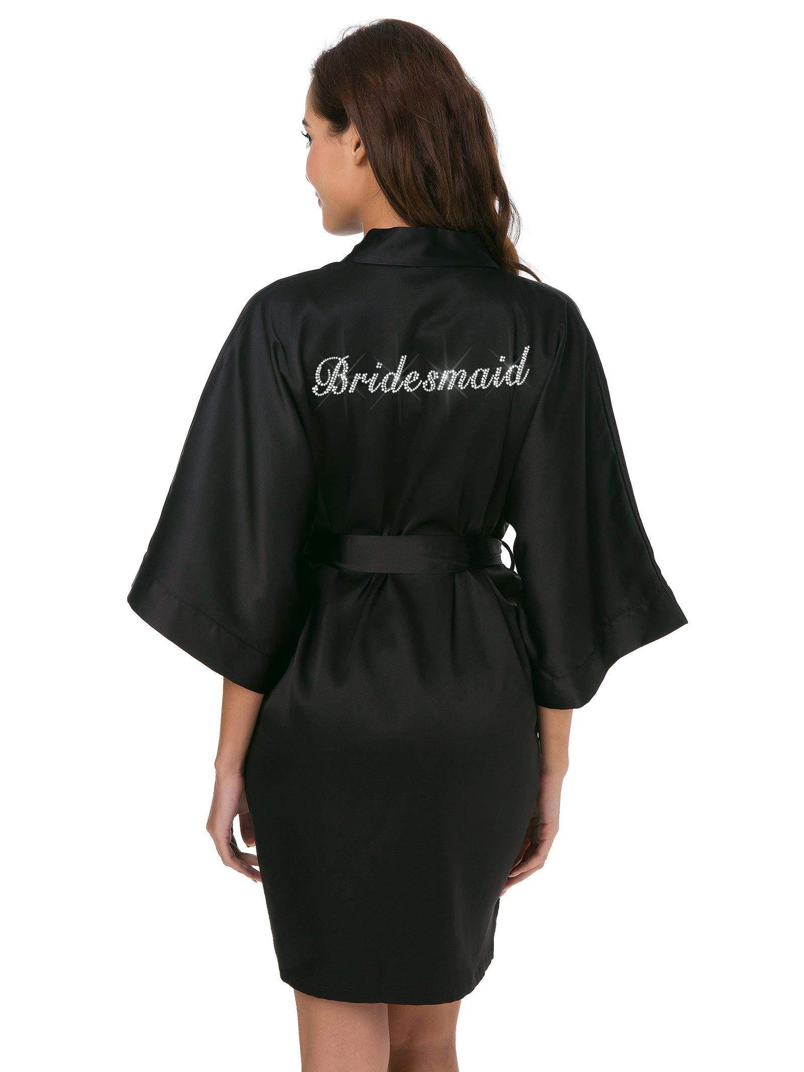SIORO Personalized Bride Bridesmaid Robes,Womens Satin Bathrobe for Wedding Party