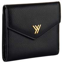 YBONNE Women's Small Compact Bifold Pocket Wallet, Made of Finest Genuine Leather (Black)