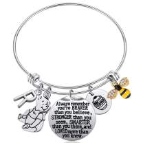 Kvekstio Inspired by Classic Gifts You are Braver Than You Believe, Bee, Hunny, Pooh Bear Charm Inspirational Jewelry for Women Girls