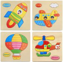 MISS FANTASY Wooden Jigsaw Puzzles for Toddlers(4 pcs) Boys &Girls Educational Toys Gift with 23 Patterns, Bright Vibrant Color Shapes (Flying)