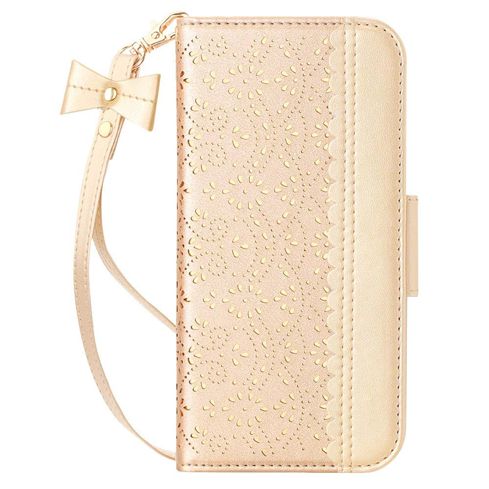 "WWW iPhone 11 Pro Case,iPhone 11 Pro Wallet Case,[Luxurious Romantic Carved Flower] Leather Wallet Case with [Inside Makeup Mirror] [Kickstand Feature] for iPhone 11 Pro 5.8"" 2019 Gold"