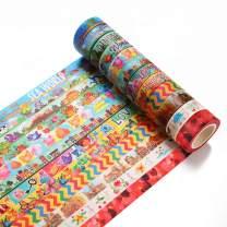 Accmor 12 Rolls Washi Tapes Set Decorative Masking Tape for DIY Scrapbook, Planner, Bullet Journal, Arts & Crafts, 15mm Wide.