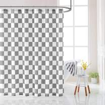 """Fmfunctex White Grey Chess Board Shower Curtain for Bathroom 72"""" x 72"""" Geometric Classic Checkered Pattern Design Water Resistant Fabric Shower Curtain for Bathtub 1 Panel"""