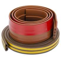 """Insulation Weatherproof Doors and Windows Soundproofing Seal Strip with Collision Avoidance Rubber Self-Adhesive Weatherstrip (16ft Weatherstrip + 39""""Bottom Seal) Brown"""