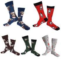 Rejolly 5 Packs Dress Socks for Men Women Colorful Combed Cotton Funky Fancy Novelty Casual Fun Dress Socks