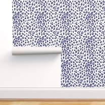 Spoonflower Pre-Pasted Removable Wallpaper, Leopard Spots Blue White Modern Animal Cheetah Summer Patio Navy Print, Water-Activated Wallpaper, 24in x 144in Roll