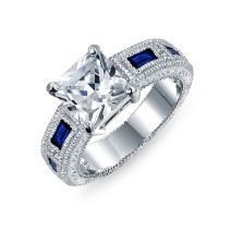 Bling Jewelry 3CT Princess Cut AAA CZ Blue Side Baguette Simulated Sapphire Milgrain Engagement Ring Wide Band Silver Plated Brass