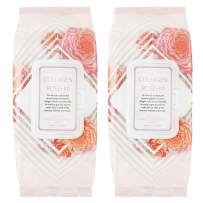 Clinical Works Makeup Remover Wipes Bulk Pack of 2, 100 Facial Cleaning Cloths Removes Makeup Mascara Dirt and Oil, Flip Top Pack (Collagen & Rosehip)