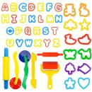 Deardeer Clay Dough Tool Mold Cutters for Kids Various Shape Modeling Dough Clay Party Pack Mega Tool Playset - 44 Pieces