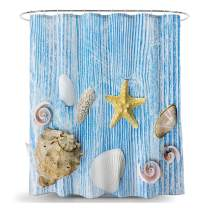 VEOAY Shower Curtain, Ocean Theme Polyester Fabric Machine Washable Waterproof Bath Curtains(Blue Shell)