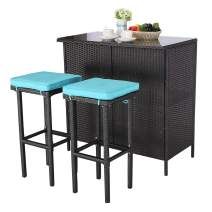 Do4U 3 Pieces Patio Bar Table Set All-Weather Outdoor Wicker Bar with 2 Storage Shelves Glass Top Table Cushioned Chairs for Poolside Backyard Balcony (Turquoise)