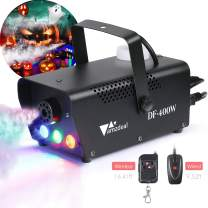 [2019 Upgraded]Halloween Fog Machine, amzdeal Portable Smoke Machine with LED Lights Equipped with Wired and Wireless Remote Control Suitable for Home, Party, Christmas, Halloween and Weddings (400W)
