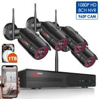 1080P Wireless Home Security Camera System Outdoor,8CH 1080P HD NVR Wireless CCTV Surveillance Systems WiFi NVR Kits with 4Pcs 960P Wireless IP Cameras,Expand Up to 8pcs Cams,1TB Hard Drive by ANRAN